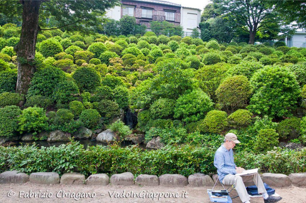 Giardino di azalee all'interno del santuario Nezu, Tokyo, Giappone