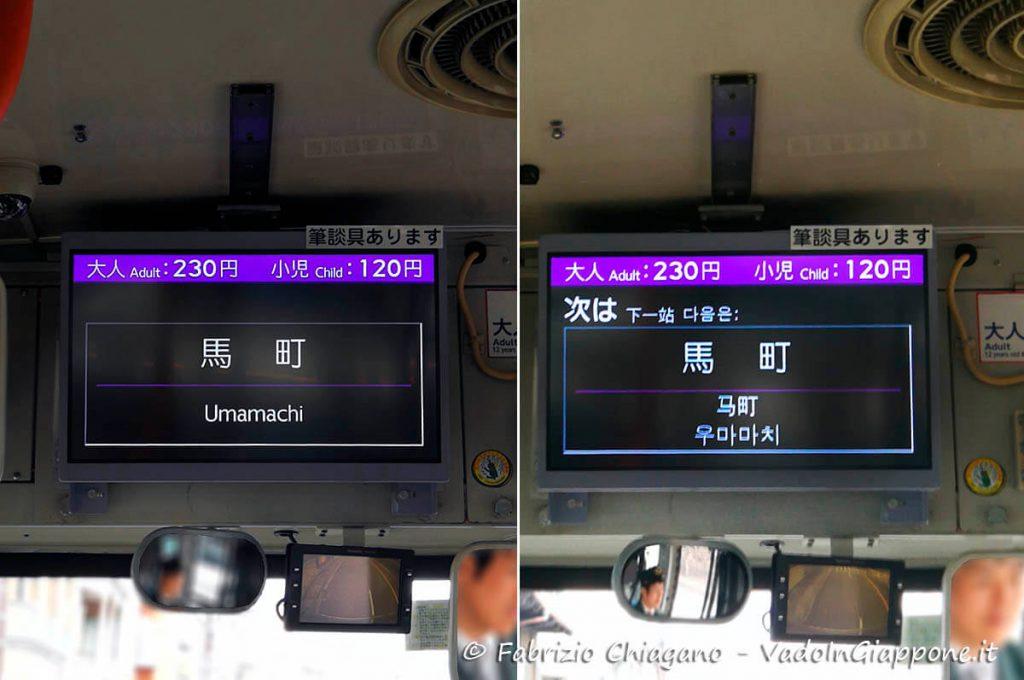 Monitor indicante la prossima fermata sugli autobus di Kyoto