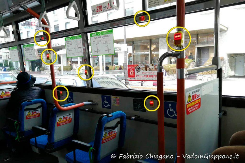Pulsanti per prenotare la fermata sugli autobus di Kyoto