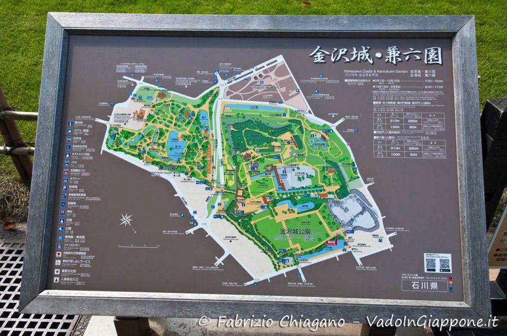 Mappa del parco e del castello di Kanazawa