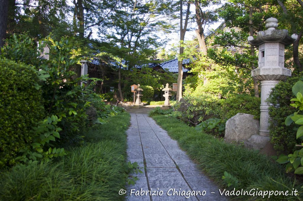 Giardino di un tempio a Utatsuyama, Kanazawa, Giappone