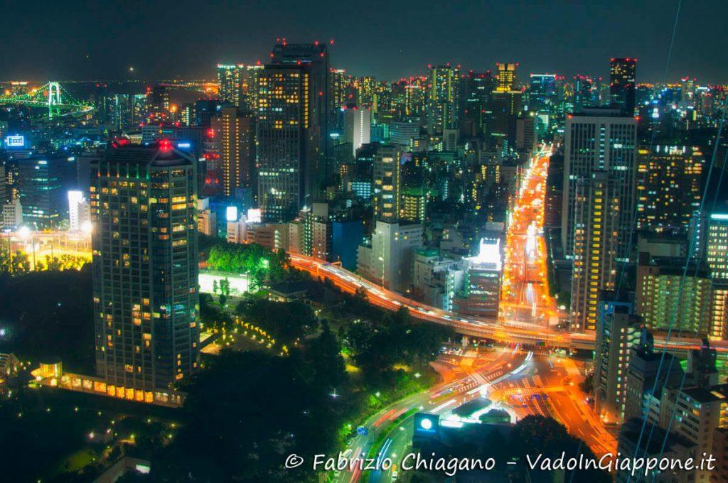 Panorama in notturna visto dalla Tokyo Tower
