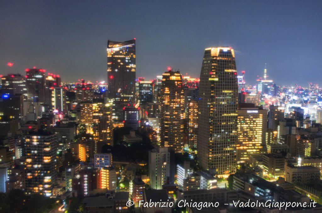Dettaglio in notturna di Tokyo visto dalla Tokyo Tower