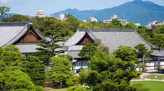 Veduta dall'alto del Castello di Nijo, Kyoto, Giappone