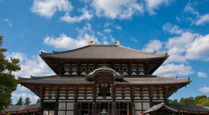 Primo piano del Tempio Todai-ji, Nara, Giappone