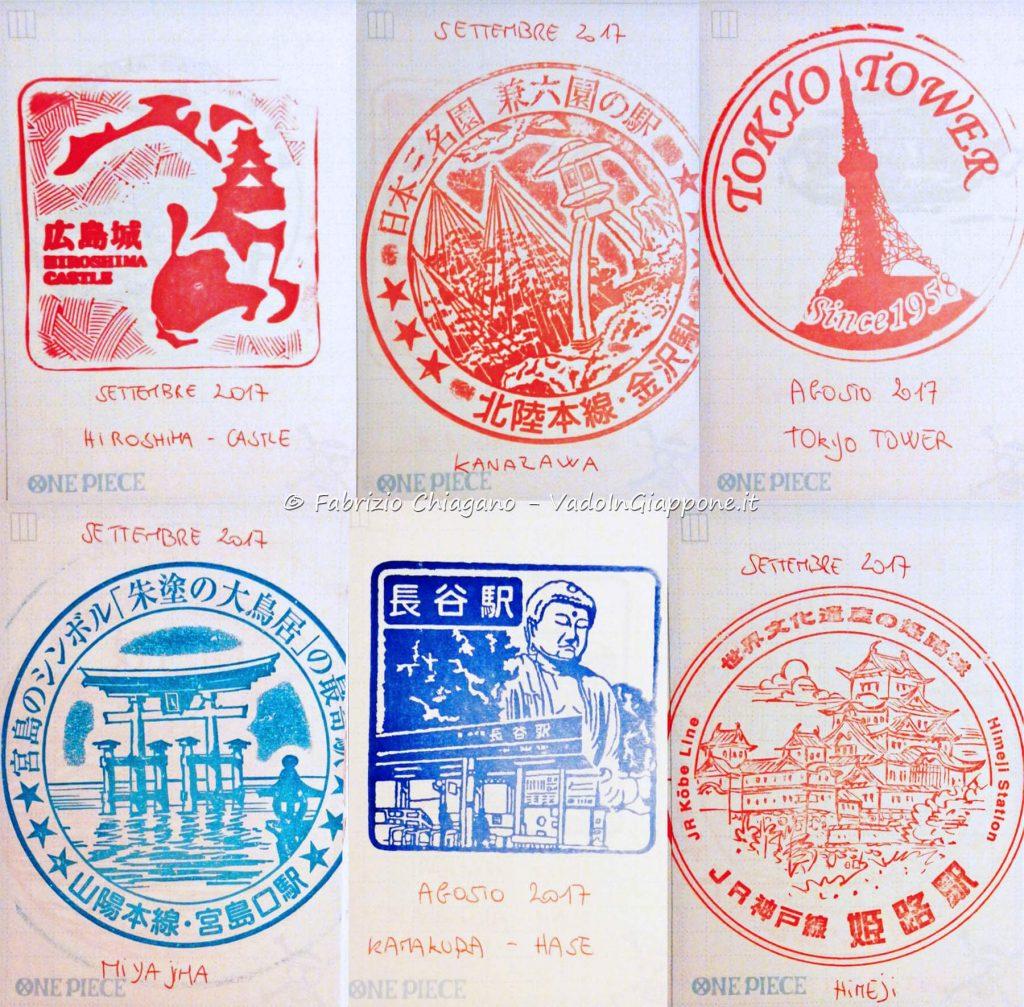Timbri di alcune famose attrazioni del Giappone