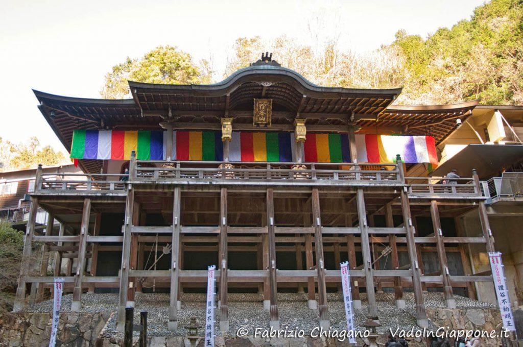 Il tempio Tanukidani-san Fudo-in e la sua grande impalcatura