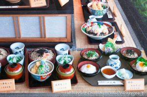 Repliche di cibi in vetrina ad Arashiyama, Kyoto