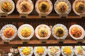 Riproduzioni di cibo in un negozio italiano a Kyoto