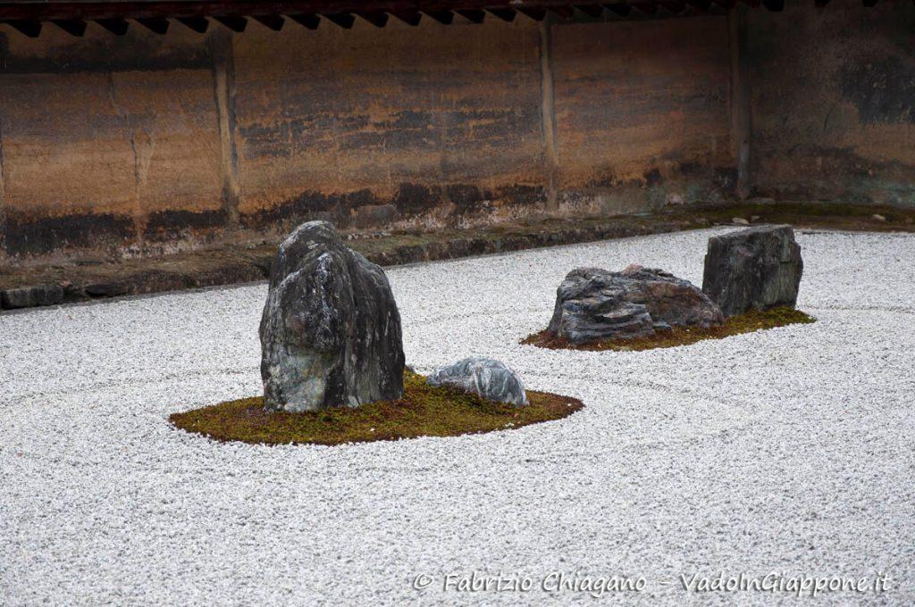 Dettaglio del giardino zen del Tempio Ryoan-ji di Kyoto