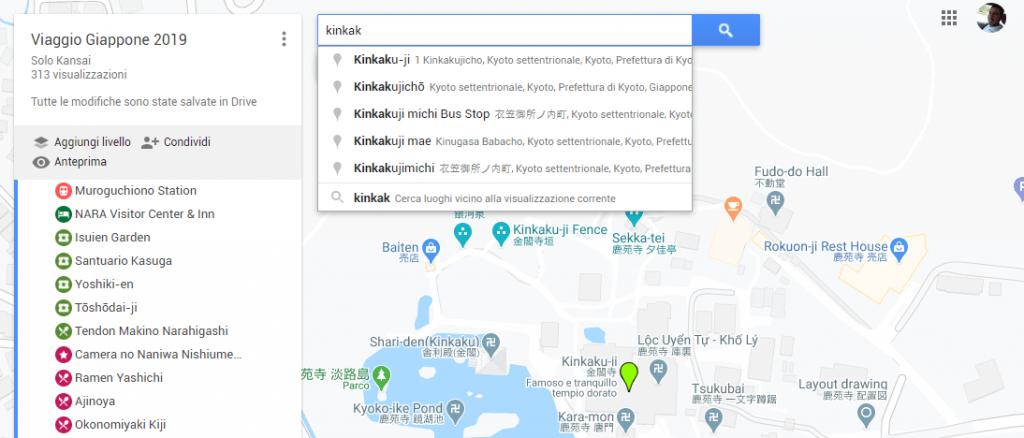 Creazione itinerario con Google My Maps - Ricerca e aggiunta di un punto di interesse