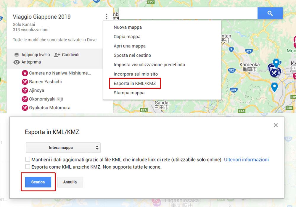 Creazione itinerario con Google My Maps - Esportazione in KML e KMZ