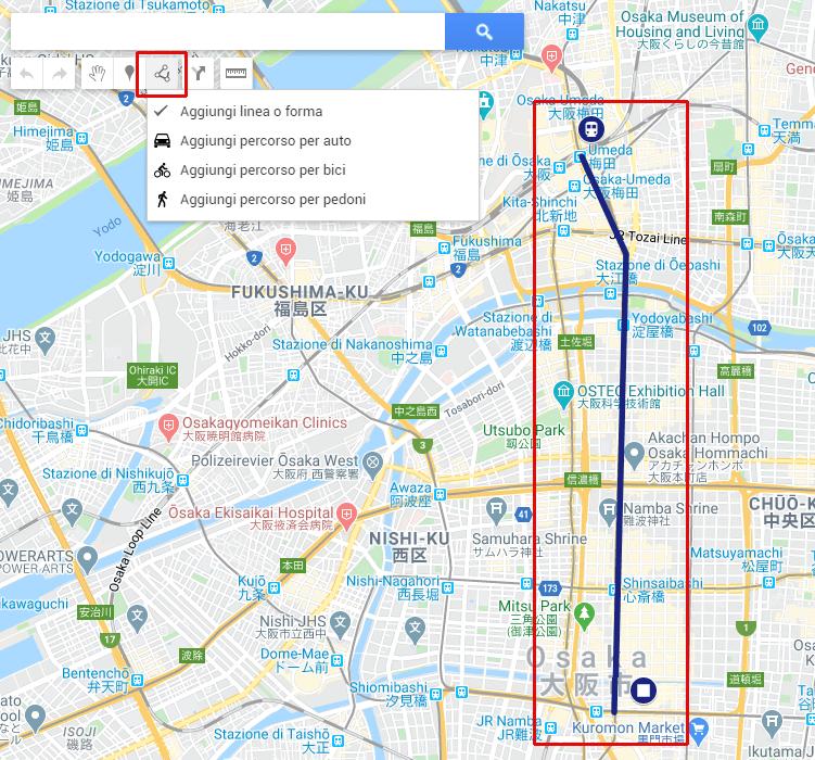 Creazione itinerario con Google My Maps - Aggiunta di forme e di linee