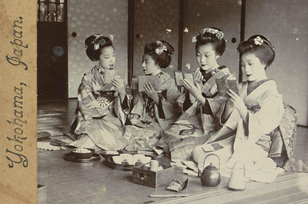 Foto storica di alcune Maiko a Yokohama