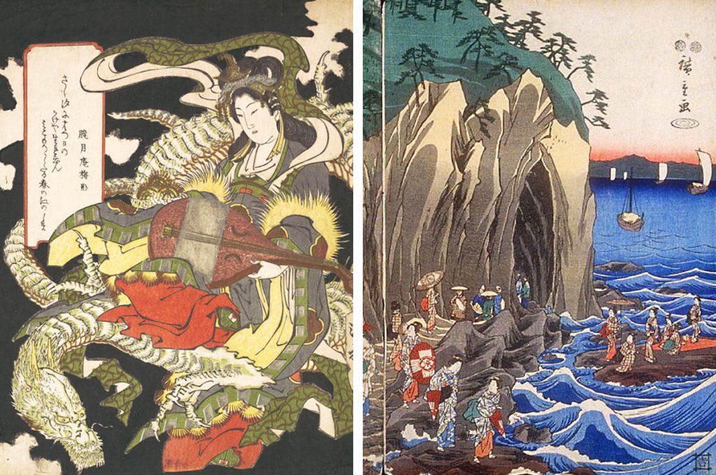 La dea Benzaiten ed una rappresentazione del pellegrinaggio alle grotte di Enoshima