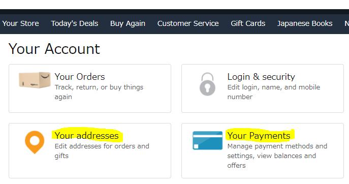 Come comprare su Amazon.jp: Immissione indirizzo e carta di credito