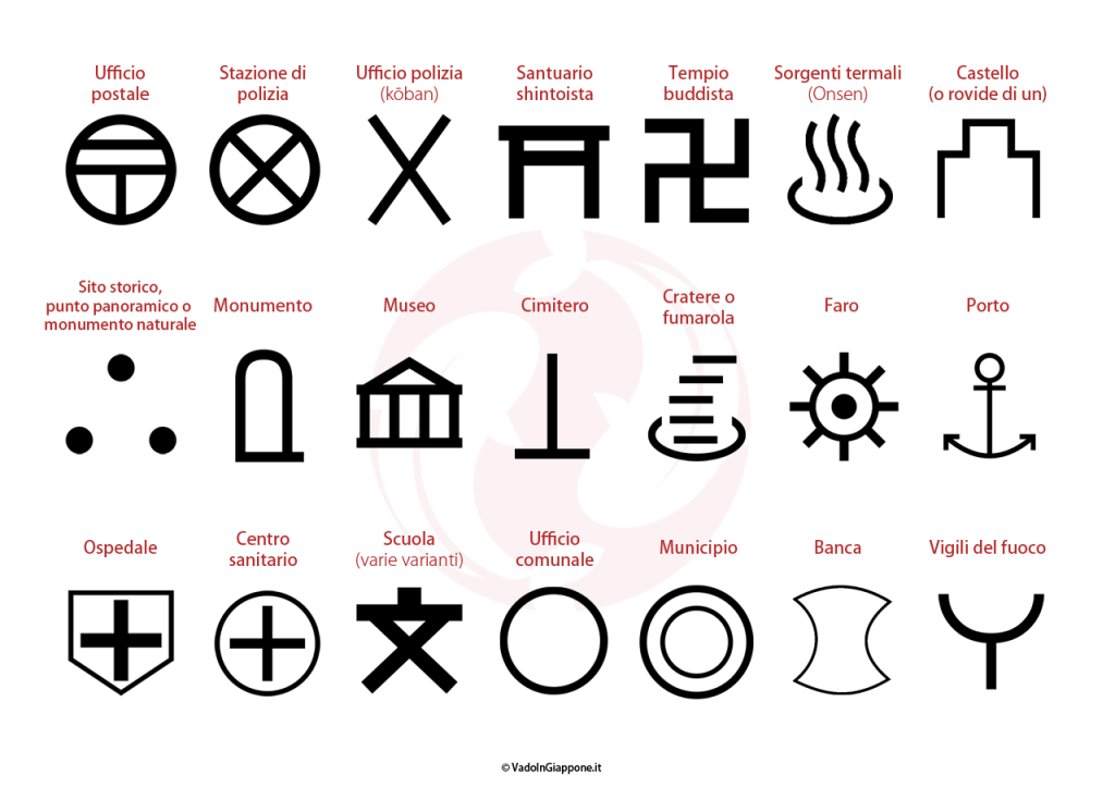 Simboli più comuni sulle mappe giapponesi